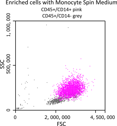Enriched cells with Monocyte Spin Medium
